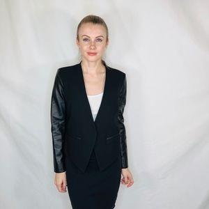 Helmut Lang Leather Sleeve Crop Tux Blazer Jacket